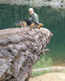 Kebab and Bill on a tree jutting out over Lena Lake